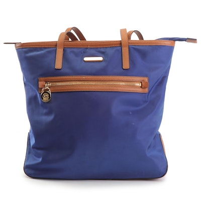 MICHAEL Michael Kors Kelsey Blue Nylon and Tan Crosshatch Faux Leather Tote