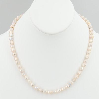 Silver Tone Cultured Pearl Necklace