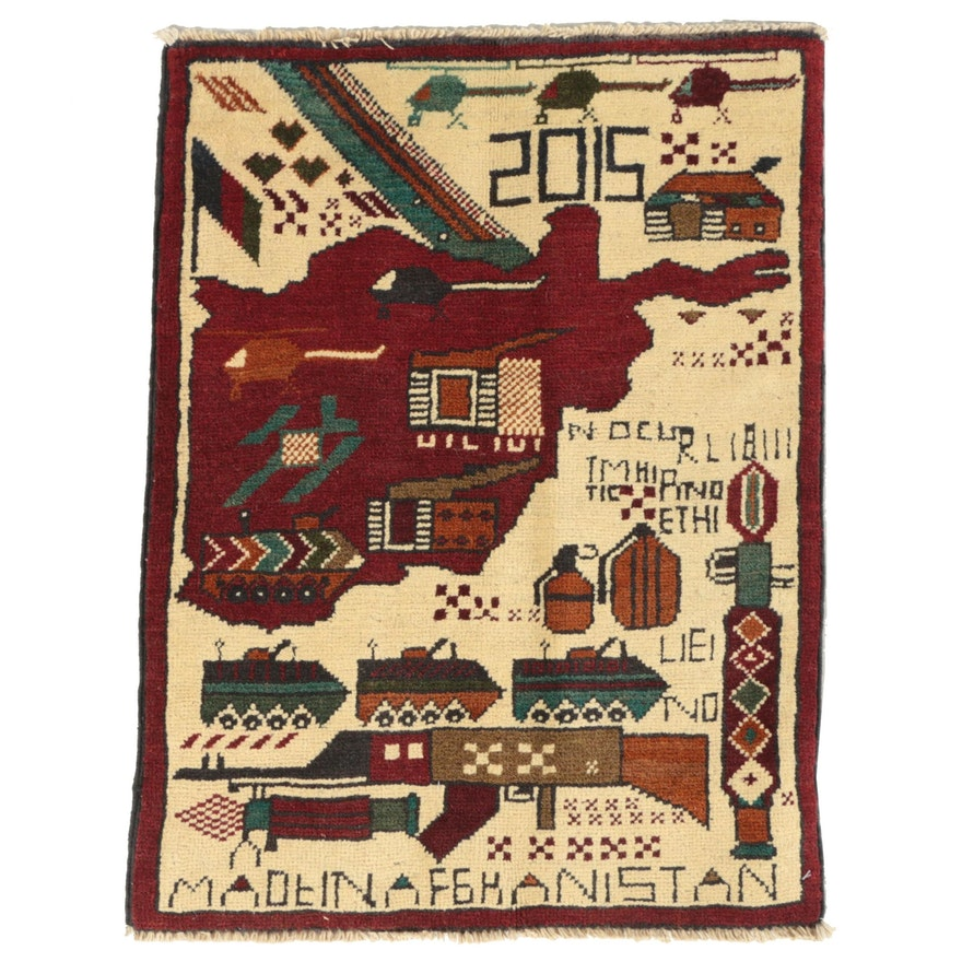 Hand-Knotted Afghan Pictorial Wool War Rug