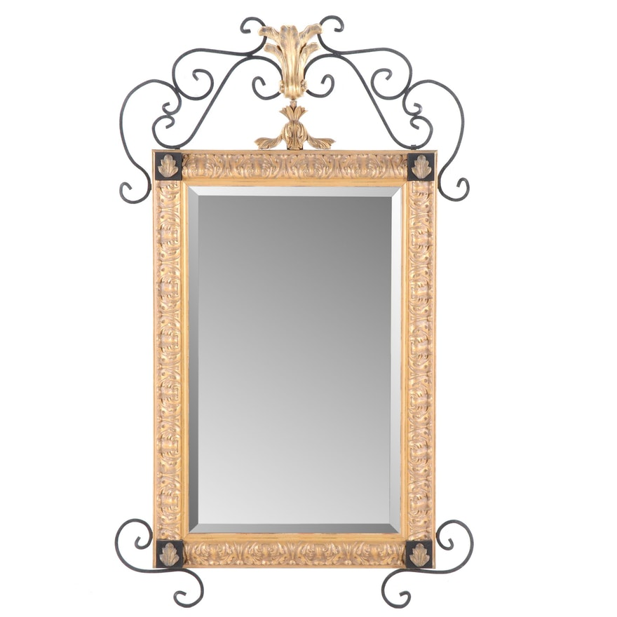 John Richard Carved Giltwood Wall Mirror with Metal Scrollwork, 1997