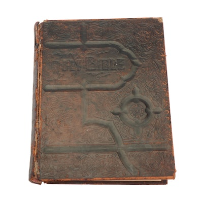 """1890 Gustave Doré Illustrated Embossed Leather Bound """"Pictorial Family Bible"""""""