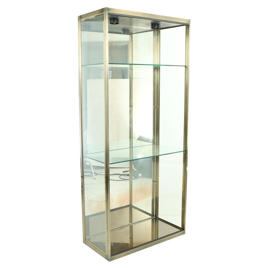Design Institute America Inc., Brass and Mirrored Glass Display Cabinet