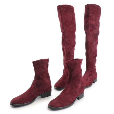 Nr Rapisardi Merlot Suede Thigh-Length and Ankle Boots