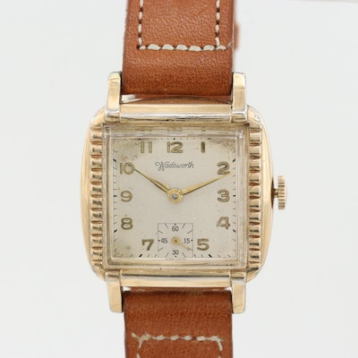 Vintage Wadsworth Gold Tone Stem Wind Wristwatch