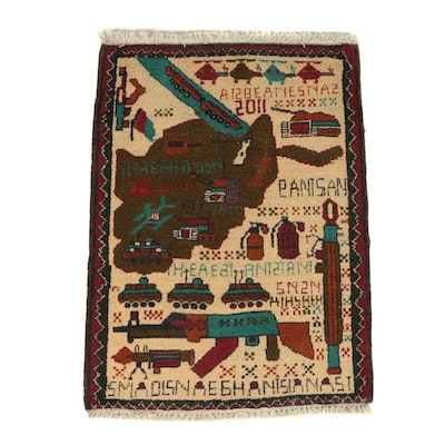 Hand-Knotted Afghan Pictorial Wool War Rug, 2011