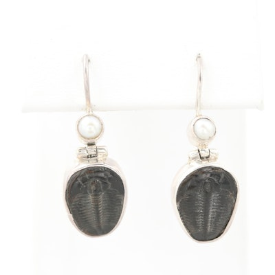 Sterling Silver Fossilized Trilobite and Cultured Pearl Earrings