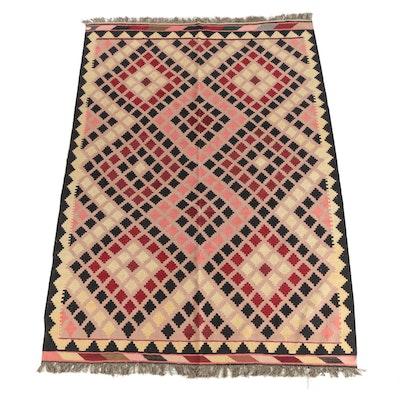 Handwoven Afghan Geometric Wool Slitweave Kilim