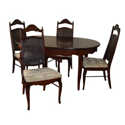 Oak Dining Table and Chairs, Late 20th Century