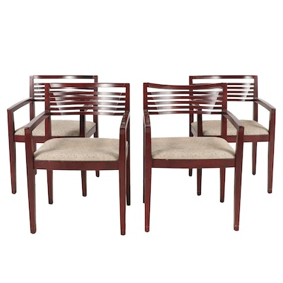 Set of Four Joseph and Linda Ricchio for Knoll Studios Wooden Modern Armchairs