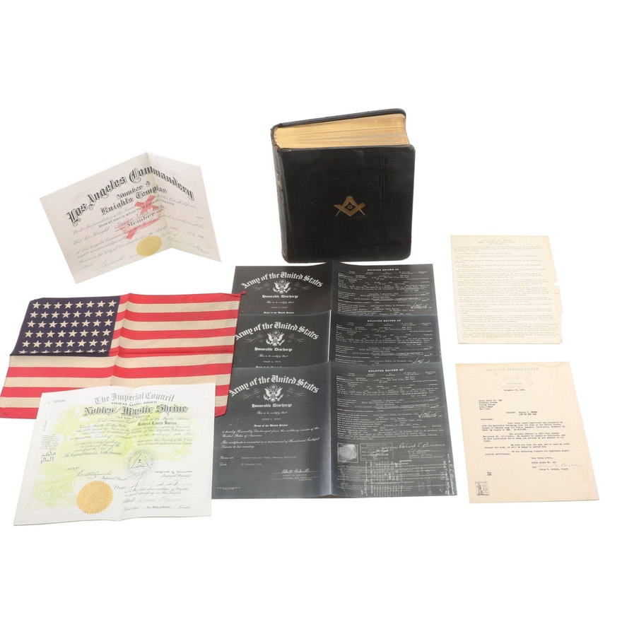 Masonic Bible, Commendary Certificates, Flag, and Honorable Discharge Papers