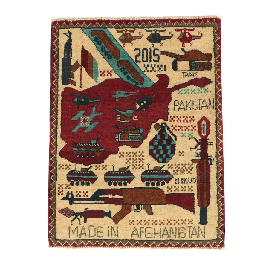 Hand-Knotted Afghan Pictorial Wool War Rug, 2015