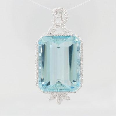 18K White Gold 36.73 CT Aquamarine and 2.00 CTW Diamond Pendant