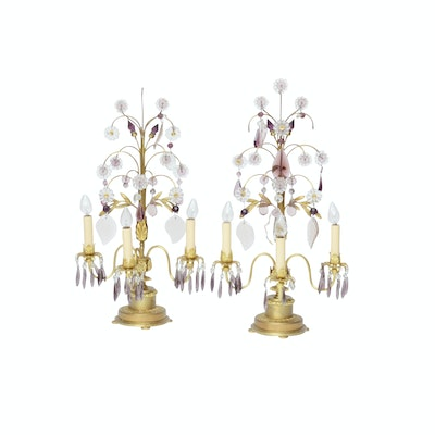Brass Candelabra Table Lamps with Amethyst Glass Prisms, Mid-Century