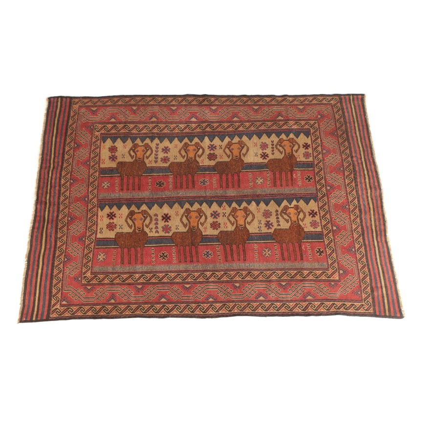 Handwoven Pakistani Pictorial Ram Wool Area Rug