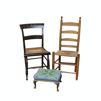 Hitchcock Style Chair and Ladder Back Chair with Needlepoint Footstool