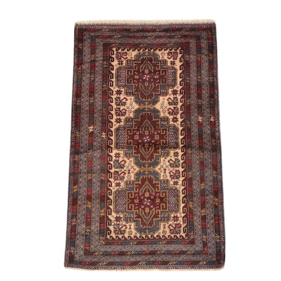Hand-Knotted Pakistani Baluch Wool Area Rug