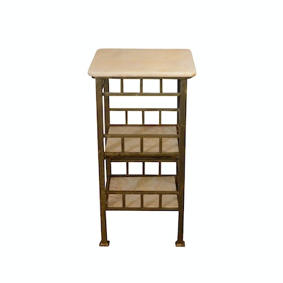 Marble and Brass Tiered Side Table, Mid-20th Century