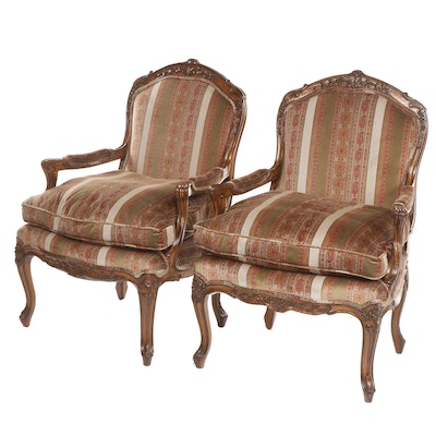 Pair of Louis XV Style Upholstered Carved Wooden Fauteuils