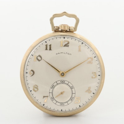 Vintage Hamilton 10K Gold Filled Open Face Pocket Watch