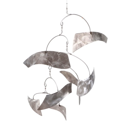 Brushed Stainless Steel Hanging Mobile Attributed to Joel Hotchkiss