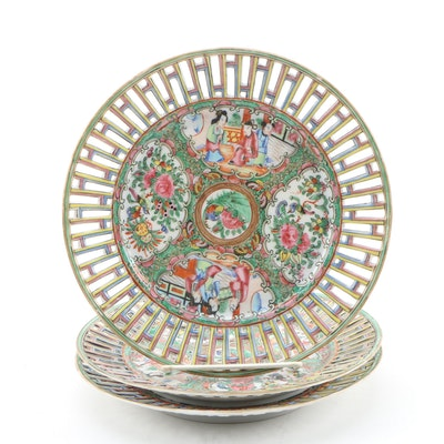 Chinese Rose Medallion Pierced Porcelain Plates