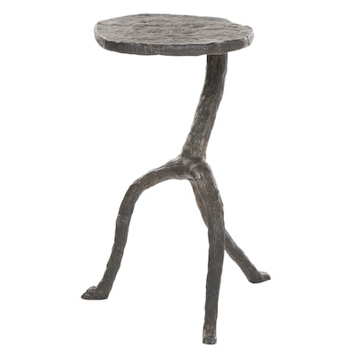 Small Iron Black and Gold Tone Faux Bois Style Side Table
