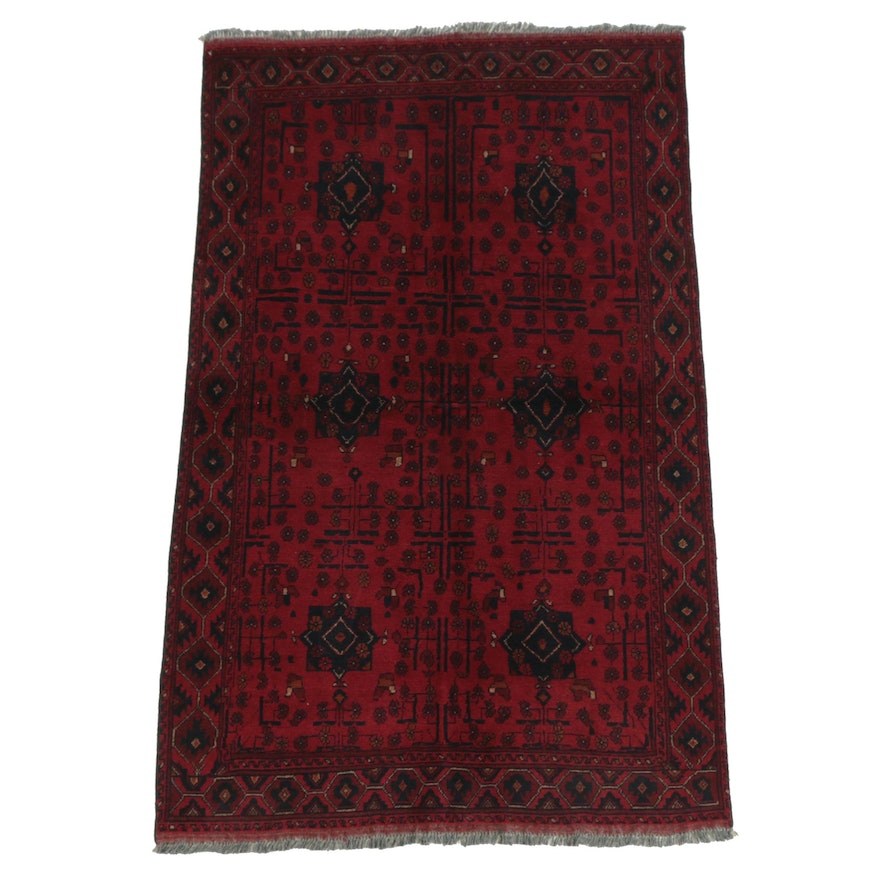 Hand-Knotted Afghan Tribal Style Wool Area Rug