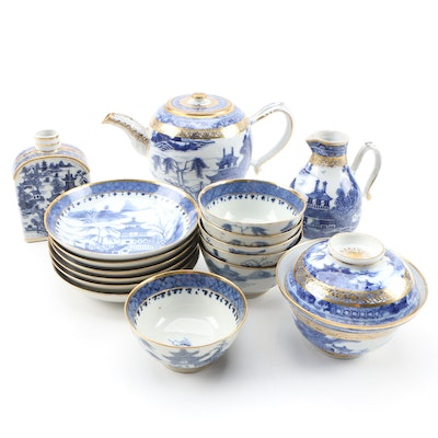 Chinese Canton Export Porcelain Teapot and other Tableware, 1790-1810