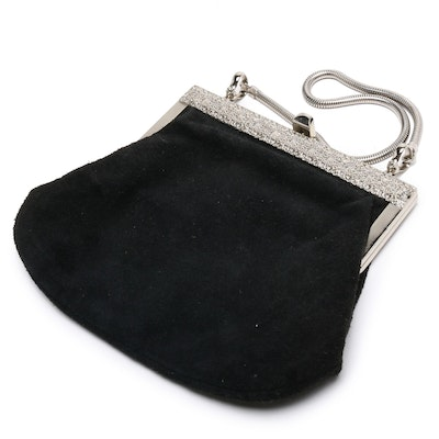Black Suede and Silver Toned Metal Clutch Bag with Snake Chain Handle