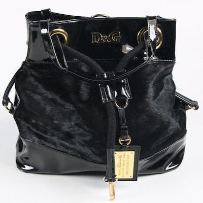 D&G Dolce & Gabbana Black Calf Hair and Patent Leather Handbag