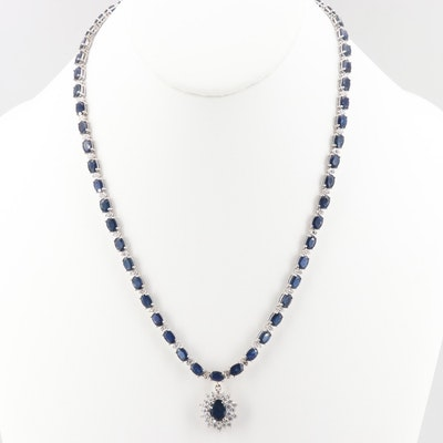 14K White Gold 28.95 CTW Sapphire and 2.20 CTW Diamond Necklace