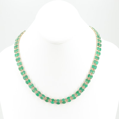 14K Yellow Gold 35.84 CTW Emerald and 2.24 CTW Diamond Necklace