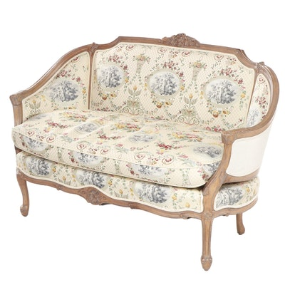 Louis XV / Transitional Style Upholstered Settee with Carved Wooden Frame