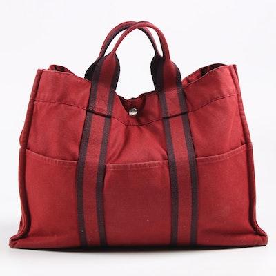 Hermès Paris Fourre Tout Tote in Red Canvas