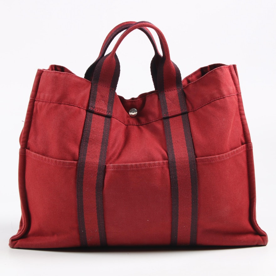 Hermès Paris Fourre Tout Tote in Red Canvas