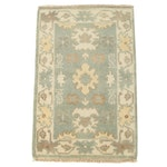 Hand-Knotted Indo-Turkish Oushak Wool Accent Rug