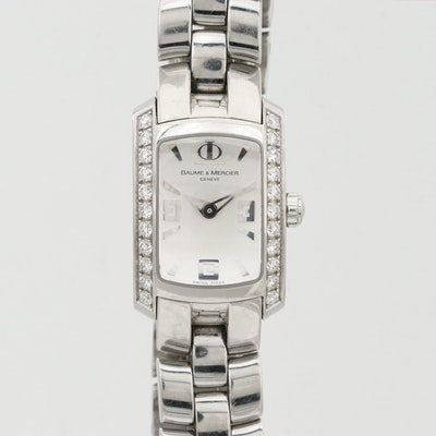 Baume & Mercier Hampton Milleis Quartz Wristwatch With Diamond Bezel