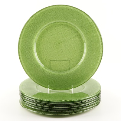 Green Glass Charger Plates