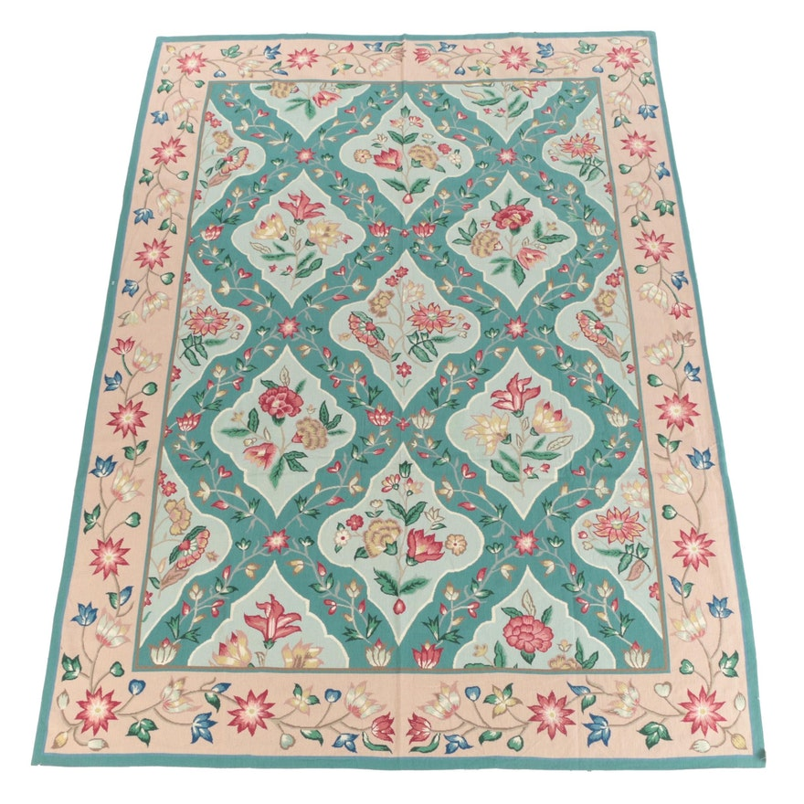 Needlepoint French Aubusson Style Wool Area Rug