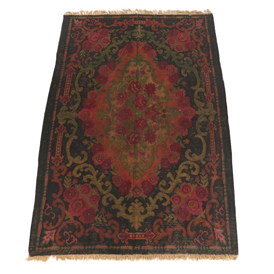 Handwoven Turkish Bessarabian Style Floral Wool Kilim