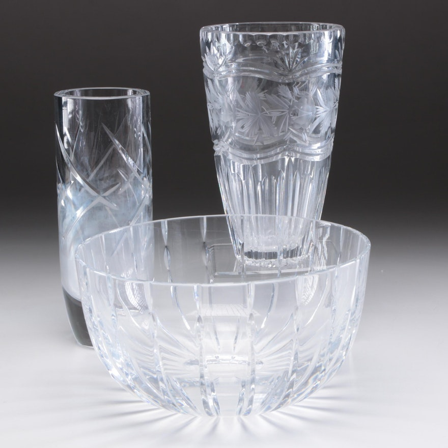 Atlantis Crystal Serving Bowl and Other Crystal Vases, Late 20th Century
