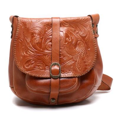 Patricia Nash Tooled Saddle Brown Leather Barcelona Bag
