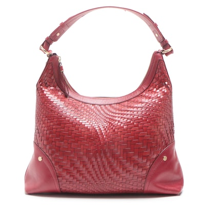 Cole Haan Genevieve Red Woven Leather Hobo Bag