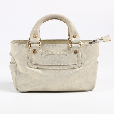 Celine Boogie Mini Handbag in Metallic Gold Leather, Made in Italy