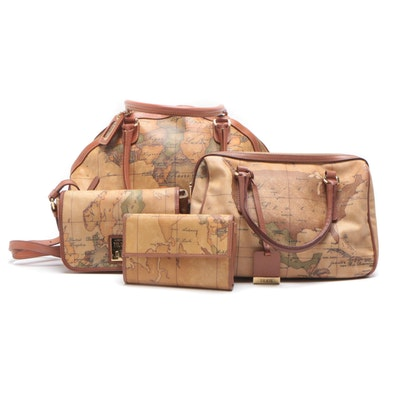 Alviero Martini Leather Geography Themed Handbags and Wallet