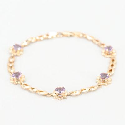 10K Yellow Gold Amethyst Bracelet