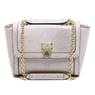 Anne Klein Metallic Grey Embossed Leather Shoulder Bag