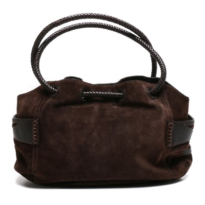 Cole Haan Dark Brown Suede and Leather Shoulder Bag with Braided Handles