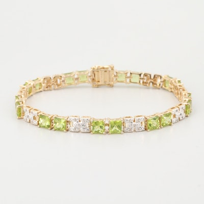 Gold Wash on Sterling Silver White Topaz and Peridot Bracelet