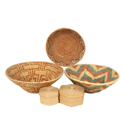 Wicker Baskets and Lidded Boxes
